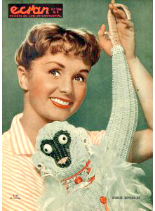 Debbie Reynolds and a monkey.